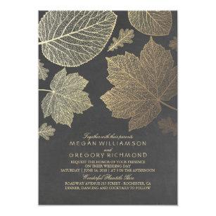 Gold Verlässt Vintage Rustikale Hochzeit Im Herbst Einladung