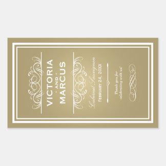 Gold Wedding Wine Bottle Monogram Favor Labels Rechteckiger Aufkleber