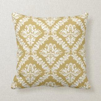 Gold, weißer Damastmuster-Wurf Kissen