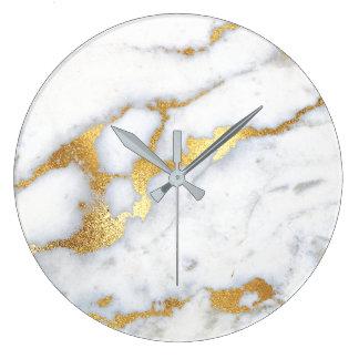Gold weißes graues Carrara Marmorabstraktes Große Wanduhr
