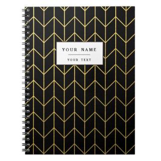 Gold Zickzack auf schwarzer Hintergrundmodernem Notiz Buch