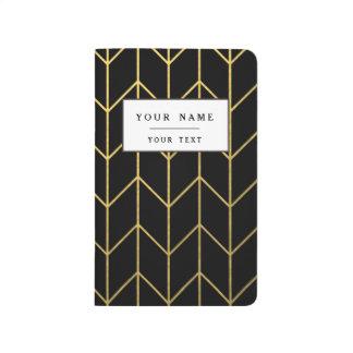 Gold Zickzack auf schwarzer Hintergrundmodernem Taschennotizbuch