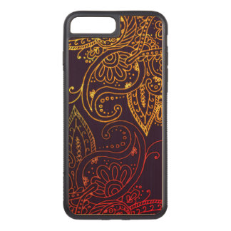 Gold zu rotem Mehndi auf Lila Carved iPhone 8 Plus/7 Plus Hülle