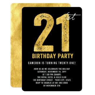 Gold zwanzig ein modernes 21. Geburtstags-Party 12,7 X 17,8 Cm Einladungskarte