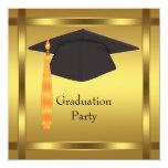 GoldAbschluss-Kappen-Abschluss-Party Individuelle Ankündigung