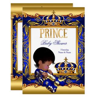 GoldAfroamerikaner-Folie Prinz-Babyparty blaue Karte
