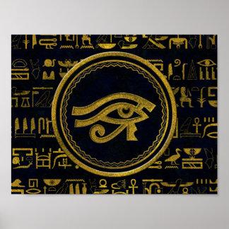 Goldägyptisches Auge von Horus - Wadjet Poster
