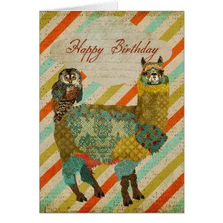 Goldalpaka u. aquamarine Eulen-Geburtstags-Karte Karte