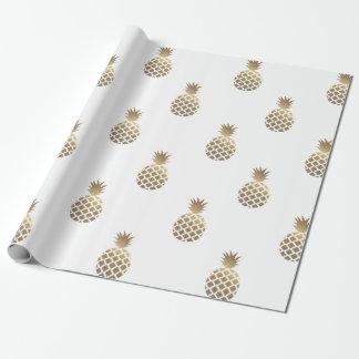 Goldananas-Muster-Packpapier-Weiß Geschenkpapier