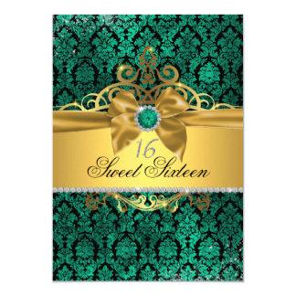 Goldaquamariner Damast 16. Geburtstag laden ein Karte