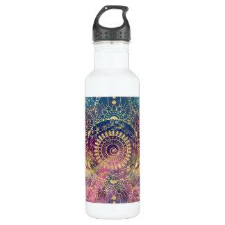 GoldAquarell und Nebelfleck-Mandala Edelstahlflasche