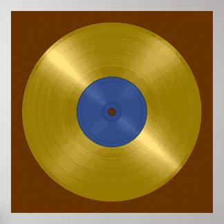 Goldaufzeichnung mit blauem Aufkleber Plakatdruck