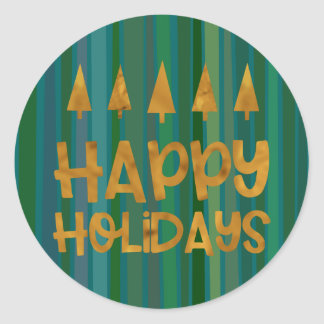 Goldbaum-glückliche Feiertage mit Foto u. grünen Runder Aufkleber