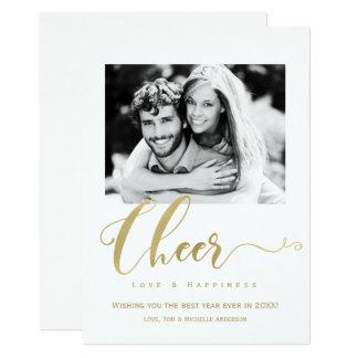 Goldbeifall-Feiertags-neue Jahr-Foto-Einladung 12,7 X 17,8 Cm Einladungskarte