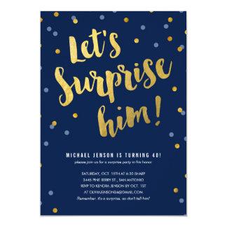 Goldbeschriftungs-Überraschungs-Party Einladungen
