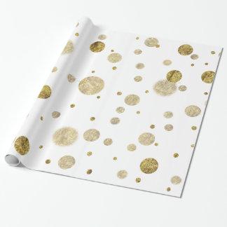 Goldbezaubernde Bokeh Confetti-Punkte Geschenkpapier