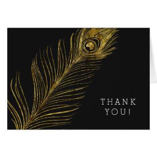 Goldbezaubernde und schwarze Pfau-Feder danken Karte
