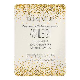 Goldbezaubernder Confetti punktiert Geburtstag 12,7 X 17,8 Cm Einladungskarte