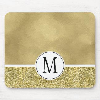 Goldbezauberndes Imitat-Folien-Glitter-Monogramm Mauspad