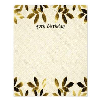 GoldBlätter-50. Geburtstags-doppelseitiger Flyer