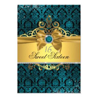 Goldblauer Damast 16. Geburtstag laden ein Karte