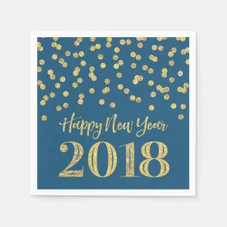Goldblauer Glitzerconfetti-glückliches neues Jahr Papierserviette