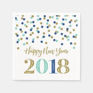 Goldblauer Glitzerconfetti-glückliches neues Jahr Serviette