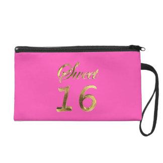 Goldblick-Typografie des Bonbon-16 rosa elegant Wristlet Handtasche