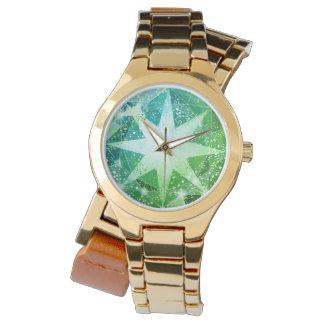 GoldBling grüner Kompass-Edelsteinrhinestone-Blick Uhr