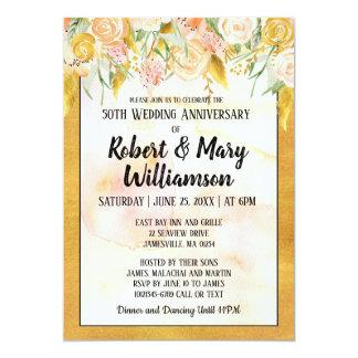 Goldblumen50. Hochzeitstag-Einladung Karte