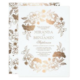 GoldblumenKranz-eleganter Hochzeitstag 12,7 X 17,8 Cm Einladungskarte