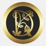 GOLDblumenmonogramm-BUCHSTABE D Runde Sticker