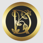 GOLDblumenmonogramm-BUCHSTABE D Runder Aufkleber