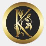 GOLDblumenmonogramm-BUCHSTABE K Runde Aufkleber