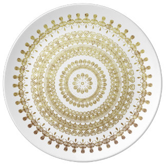 GoldBoho Stammes- Kreis-Mandala-metallischer Teller