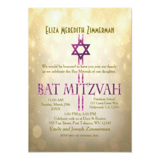 GoldBokeh | Schläger Mitzvah 12,7 X 17,8 Cm Einladungskarte