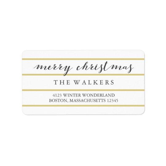 Goldbreites Nadelstreifen-Skript-frohe Weihnachten Adressetiketten