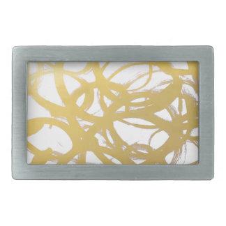 Goldbrushstroke-Aquarell-Kreise Rechteckige Gürtelschnalle