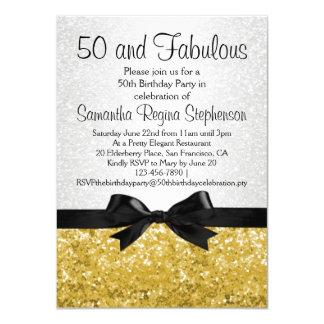 Goldc$schein-blick Bogen-50. Geburtstags-Party 11,4 X 15,9 Cm Einladungskarte