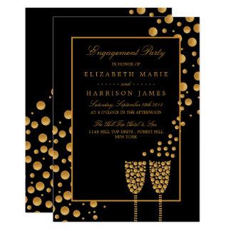 Goldchampagne-Blasen-Verlobungs-Party Karte