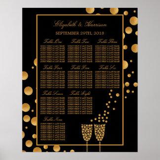 Goldchampagne-Blasen-Verlobungs-Sitzplatz-Diagramm Poster