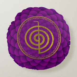 GoldChoku Rei Symbol auf Lotos Rundes Kissen