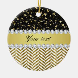 Goldconfetti-Dreieck-Sparren-Diamant Bling Keramik Ornament