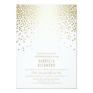 Goldconfetti-elegantes Vintages weißes Karte