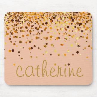 Goldconfetti-Glitter-goldene Imitat-Folie Glittery Mousepad