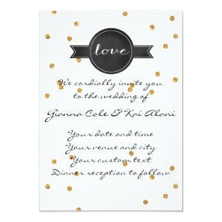 Goldconfetti-kundengerechte Hochzeits-Einladung 12,7 X 17,8 Cm Einladungskarte