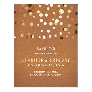 GoldConfetti lässig und romantisch Save the Date Postkarte
