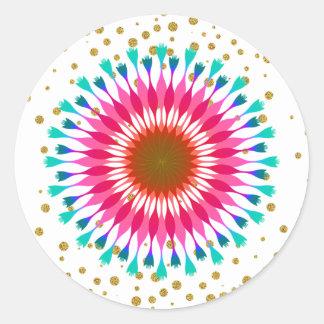 Goldconfetti-Lotos-Blumen-Glitter-Hochzeit Runder Aufkleber
