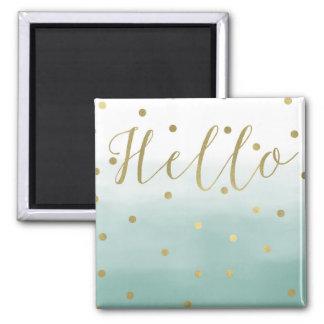 Goldconfetti-Minzen-Aquarell hallo Quadratischer Magnet