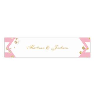 Goldconfetti-Rosa Stripes Hochzeits-Monogramm Serviettenband